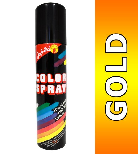 NET TOYS Farbiges Haarspray Gold Haar Spray Color Haarcoloration Colorspray Fasching Haarsprays Colorsprays Haarcolorationen