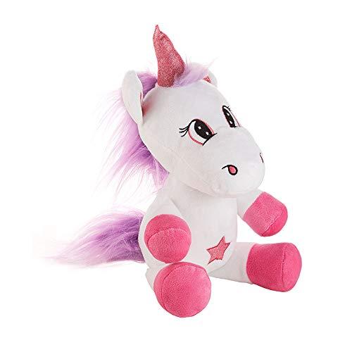 Einhorn weiß-lila 15x20x40cm Glitzer Stern Plüschtier Geschenk Kuscheltier Unicorn Pony Stofftier Highlight
