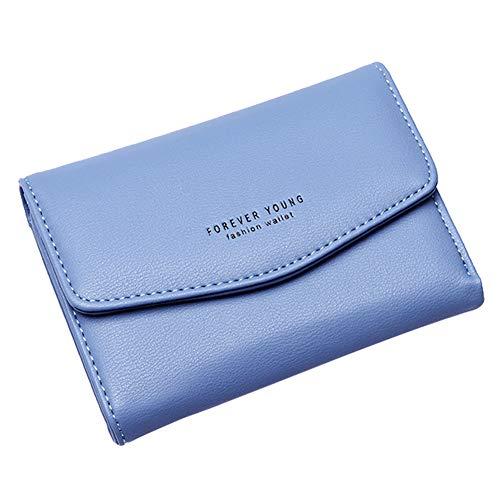 Gysad Geldbörse Mini Geldbeutel Damen Portemonnaie Mode-Einfach-Schnalle Pouch Wallet für Münzen,Kleingeld,Schlüssel und kleine Sache Damen Mädchen Geschenk(Blau) 13.5cm*9.5cm