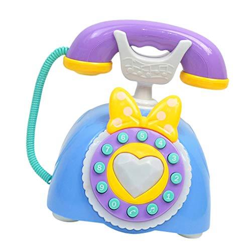 F Fityle Teléfono Infantil Plástico Educativo Temprano Electrónico del Juguete del Vintage - Azul