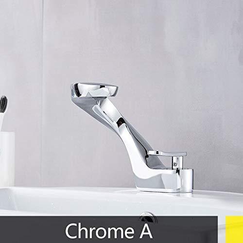 RSZHHL keukenkraan voor wastafel waterkraan koud waterkraan warmhouder brug kraan schattig badkamer kraan twee gaten messing eengat Chrome A