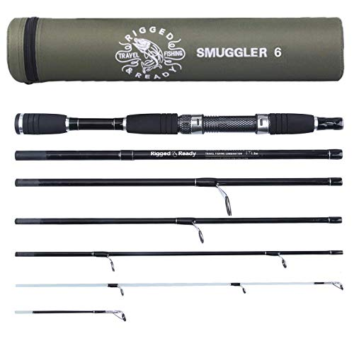"Rigged & Ready Smuggler 6, Travel Fishing Rod. Fishing kit - 6 Piece, 209cm, 6' 10"", high Performance, Powerful, Nano Carbon Rod with Unbreakable tip, Fishing Pole That fits in Your Cabin Luggage!"