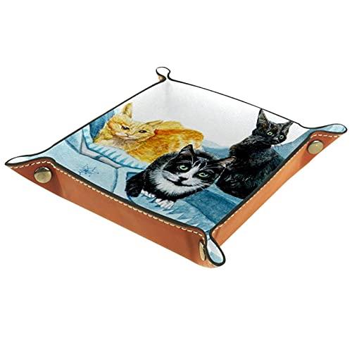 Bandeja de Cuero Gato animal Almacenamiento Bandeja Organizador Bandeja de Almacenamiento Multifunción de Piel para Relojes,Llaves,Teléfono,Monedas