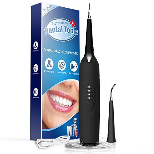 Ultrasonic Tooth Cleaner, iFanze Plaque Remover for Teeth - Quick Solution for Calculus, Tartar, Dental Plaque, Teeth Stains Professional Tartar Remover for Teeth (Black)