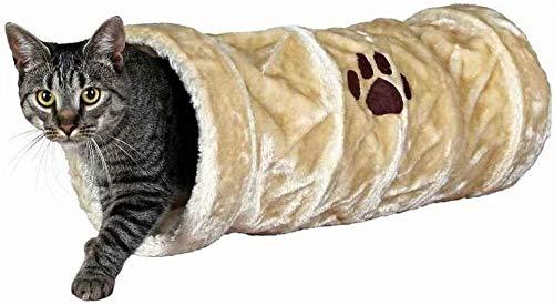 Trixie 42981 Spieltunnel, Plüsch, ø 22 × 60 cm, beige
