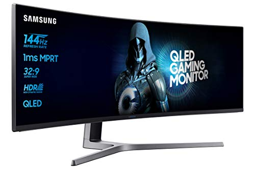 "Samsung C49HG90 Monitor Gaming Curvo, Super Ultrawide, 49"", Full HD, HDR, 3840 x 1080, 1 ms, 32:9, 144 Hz, 1080p, 350cd/m2, 1 Display Port e 1 Mini Display Port, 2 HDMI, Freesync, Quantum Dot, Nero"