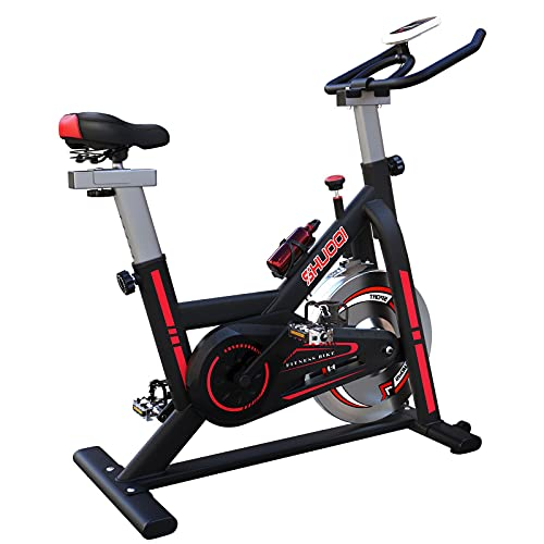 SHUOQI Bicicletas Estaticas Spinning, Bici Indoor, Volante D