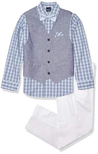 Nautica Boys' Big 4-Piece Set with Dress Shirt, Bow Tie, Vest, and Pants, Pilot Blue, 14