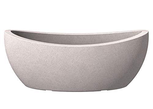Scheurich Wave Globe Jardiniere, ovale Pflanzschale aus Kunststoff, Taupe-Granit, 58 cm lang, 24 cm breit, 23 cm hoch, 15 l Vol.