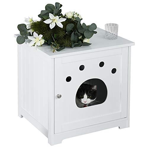Pawhut Maison de Toilette pour Chat Design Porte entrée Patte Chat 2 MDF Blanc