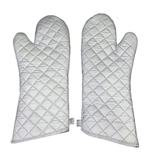 Avalita Guantes de horno de cocina de alta resistencia al calor, guantes largos antiquemaduras de tela plateada, 1 par