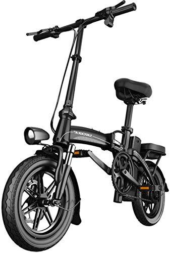 RDJM Bici electrica, 400W 14 Pulgadas Bicicleta eléctrica Montaña Beach Moto de Nieve for Adultos, Scooter eléctrico Engranaje E-Bici con la batería de Litio extraíble 48V12.5A