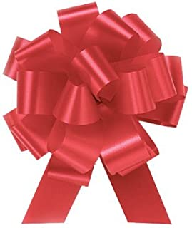 Imperial Red Pull String Bows - 8 Inch Wide 20 Loops (2 and 1/2 Inch Ribbon) Set of 10 Large