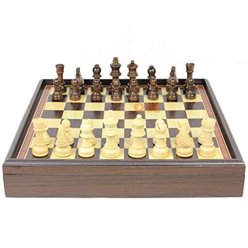POHLOOW Embajador Hecho a Mano Europea Juego de ajedrez Tablero de Madera con Fieltro Base de Madera de ajedrez Compartimento Dentro de la Junta de Tienda Pieza de ajedrez (Size : 31×31×5.3cm)