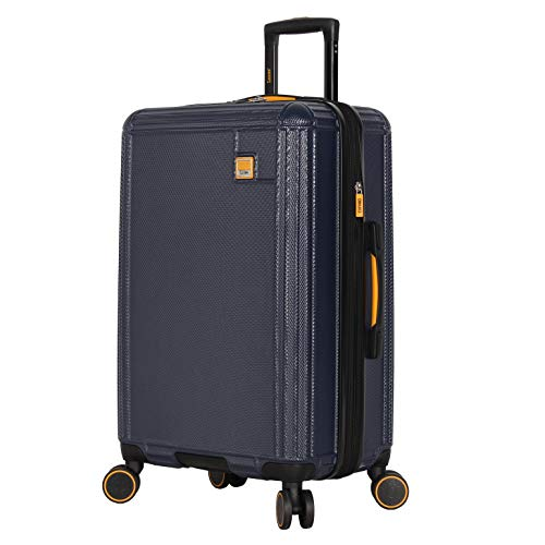 Lucas 28 Inch Checked Luggage Collection - Expandable Scratch Resistant (ABS + PC) Hardside Suitcase - Designer Lightweight Bag with 8-Rolling Spinner Wheels (Blue)