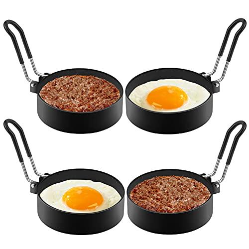 Anillos de Huevo Antiadherentes,4 Pcs Acero Inoxidable Redondo Moldes para Huevos Fritos Panqueques para Freír Huevos, Plancha de Cocción, Muffins de Huevo, Juego de Moldeador de Huevos.…