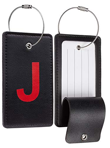 Travelambo Initial Luggage Tag Baggage Bag Tags Travel Fully Bendable Tag Stainless Steel Loop 2 pcs Set (J)