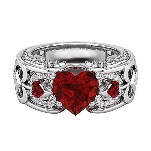 Couple Rings Wood Grain Titanium Steel Heart Three Layer Ring Ring Set, 2020 Christmas Classic Ring, Heart Shaped Ruby Fashion Jewelry Decoration Gift for Wedding, Valentines Day, Birthday (B+girl, 6)