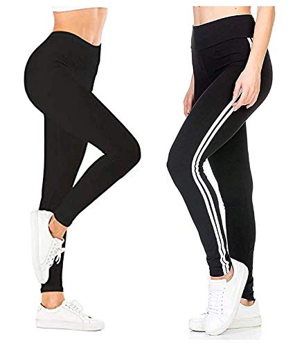 Featkart ® Women's Combo of Gym Wear Leggings Ankle Length Workout Stretchable Striped Trousers/Jeggings/Yoga Track Pants (Black, Free Size)