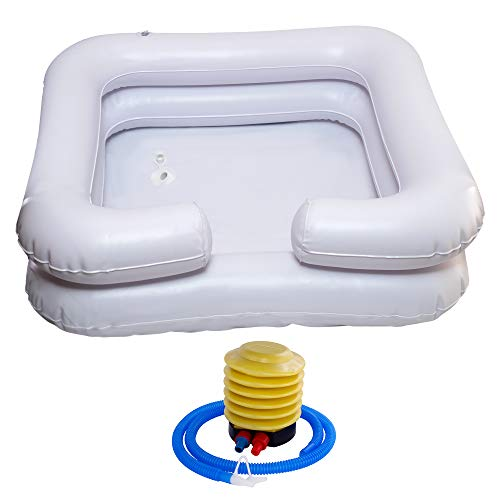 Portable Hair Wash Shampoo Bowl – Inflatable Washing Basin Sink for Bedridden and Disabled Care Tub Washer Station for Locs