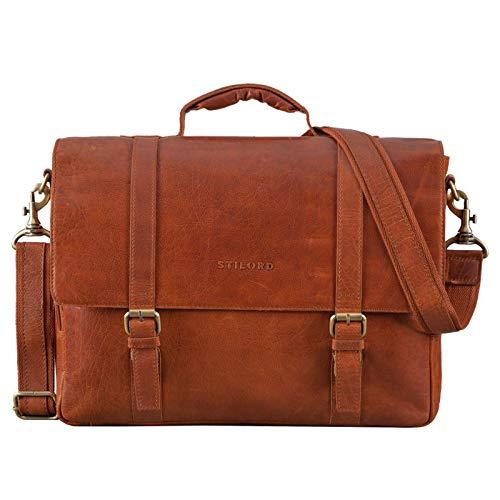STILORD 'Calvin' Business Satchel Leather Large Portfolio for Men with 15.6 inch Laptop Compartment Briefcase, Colour:maraska - Brown