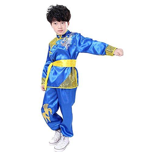 KINDOYO Traje de Kung Fu de Unisex Sin Mangas/Manga Corta Artes Marciales Chino Tradicional Disfraces con patrón de dragón