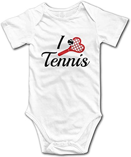 I Love Tennis Romper Unisex Baby Bodysuit Short Sleeve Jumpsuit Clothes for Baby White