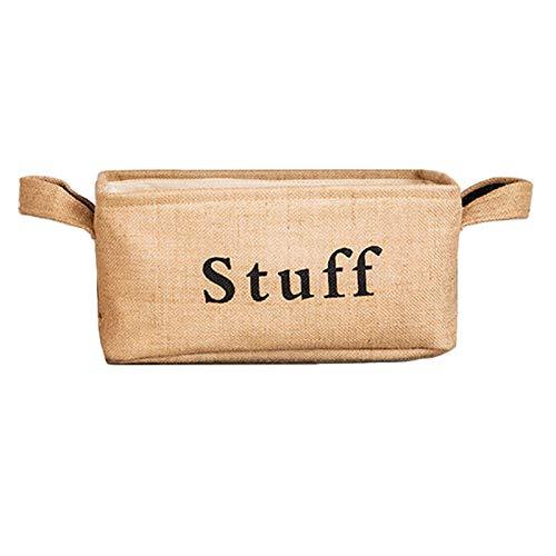 JFZ Caja de almacenamiento de estilo nórdico de lino, cesta de mesa, cesta para tejer, pequeña mesa de té, juguete de aperitivos, cesta de almacenamiento (mediana)