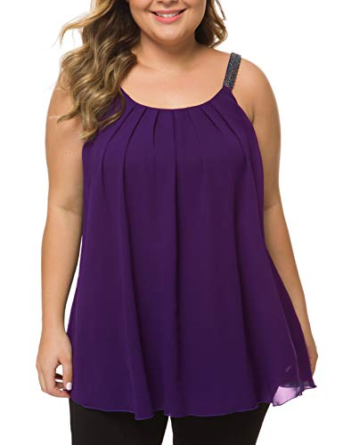 MANER Women's Plus Size Cami Casual Pleated Chiffon Tank Top with Beaded Strap (Purple, XXXL/US 22-24)
