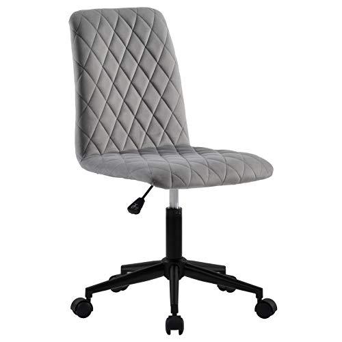 VKTY Bürostuhl, Rotieren,Samtstoff, Armlehnenlos, höhenverstellbar, mit Rollen und Stahlfuß, ergonomischer Chefsessel Schreibtischstuhl