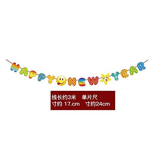 JHping 2020 Festival de Primavera Año Nuevo Personajes de Lahua Fu La Tira Colgante Feliz año Nuevo Laguna Bandera Colgante Decoraciones Creatividad Interior-Naranja