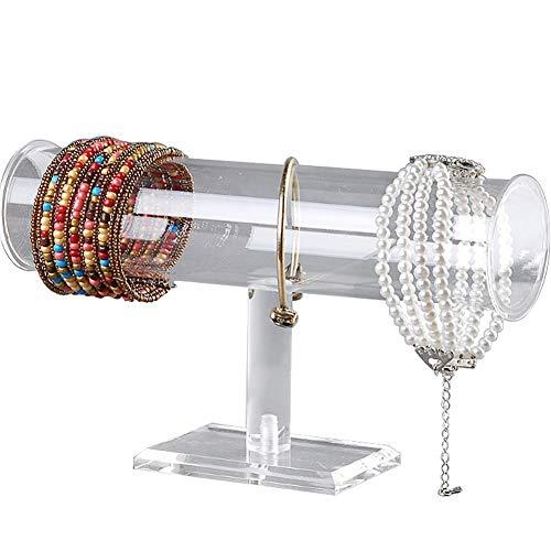 Acrylic Removable Bracelet Display Holder Stand 1 Tier Jewelry Rack Watch Headdress Flower Organizer T Bar I-Shaped Shelf Case