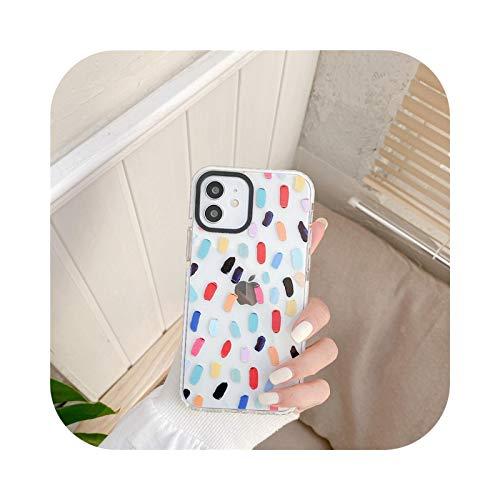 Rainbow Girls - Carcasa de TPU transparente para iPhone 11 Pro Max 12 Pro 7 8 Plus XS max xr x 90s Harajuku Label Funda de silicona para teléfono SE 2020-puntos coloridos-Para 12 Pro Max
