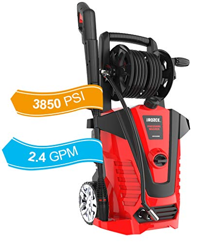 iRozce Pressure Washers, 3850PSI 2.4GPM Max Electric Power Washer with Hose Reel/Adjustable Nozzles, Turbo Nozzle, Foam Cannon for Concrete, Deck, Patio Furniture, Car Washing (Red)