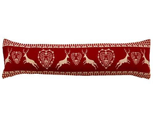 Alan Symonds Reindeer Draught Excluder Festive Christmas Fabric Door or Window Draft Guard Cushion (Red)