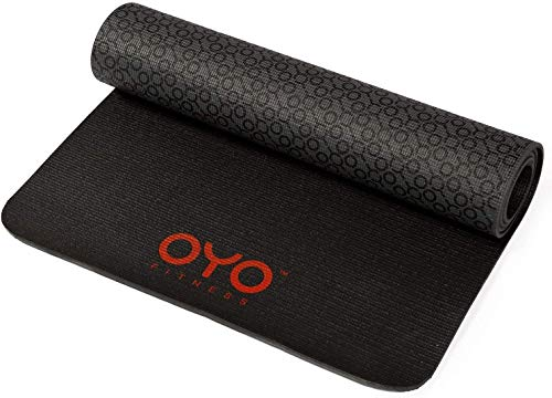 OYO Fitness Performance Exercise Mat/Yoga Mat (PVC, Reversible, Two-Tone Grey/Black, Non-Slip, 6mm / 1/4 Inch Thick)