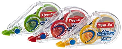 """Tipp-Ex Mini Pocket Mouse Cintas correctoras - 6 m x 5 mm, Varios Colores de Dispensador, Pack de 2+1"""""""