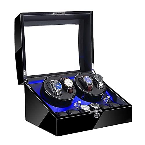 Cajón para guardar relojes y joyas Reloj automático Caja de enrollador 4 + 6 Pantalla de madera PIANO EXTERIOR 4 Modos de rotación Fuente de alimentación dual Motor silencioso Estuche de almacenamient