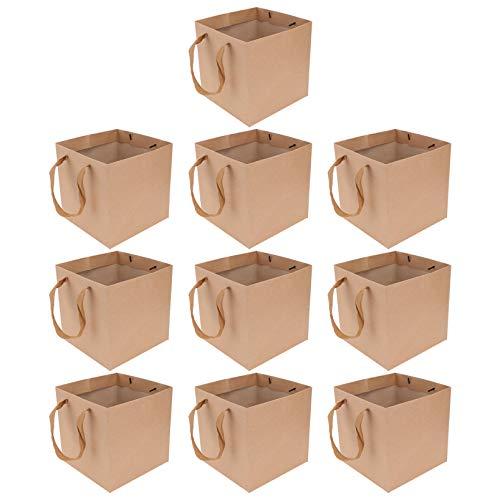 BESTonZON 10Pcs Kraft Papier Geschenk Beutel Mit Griffen Backen Tasche Take- Out Tasche Blume Verpackung Goody Taschen