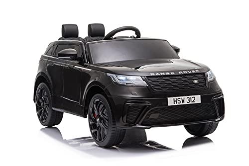 ES-TOYS Coche eléctrico infantil Range Rover Velar, con licencia – batería de 12 V 7 Ah, 2 motores + 2,4 GHz + asiento de piel + EVA (negro)