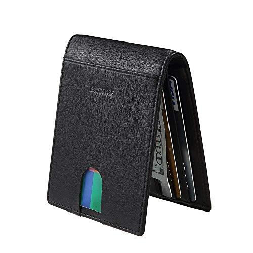 Bestkee ferma - soldi rfid portafoglio per gli uomini in vera pelle sottile tasca anteriore con caricatore e la carta d'identità del titolare