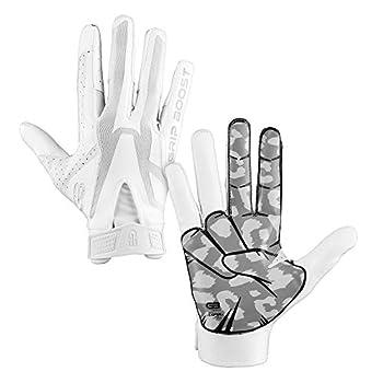 Grip Boost Peace Shaka and Hook  Em Football Gloves Pro Elite - Adult Sizes  White Adult Medium