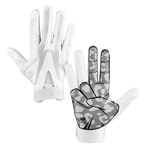 GRIP BOOST Cheetah Peace Football Gloves Pro Elite - Adult Sizes (White, XX-Large)