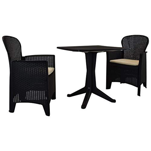 Tidyard Silla Ratan Exterior Set de Mesa y sillas de jardín 3 Piezas plástico Gris Antracita
