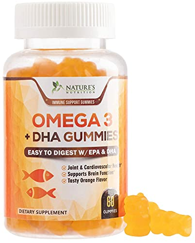Omega 3 Fish Oil Gummies Tasty Natural Orange Flavor Extra Strength Dha & Epa - Natural Brain Support and Joints Support, Delicious Gummy Vitamin for Men & Women - 60 Gummies