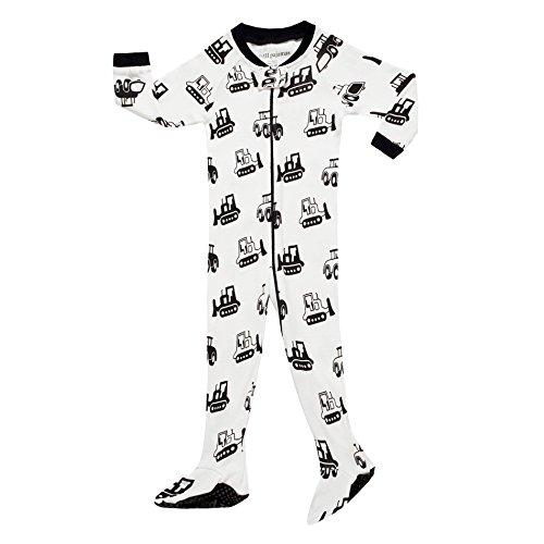 "Little Boys Footed ""Bulldozer"" Pajamas Sleeper 100% Cotton Child Blanket White Size 5T"