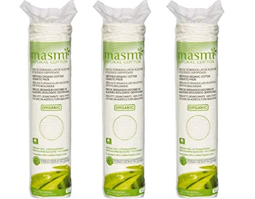 3x80 Masmi Certified Organic Cosmetic Cotton Round Pads Hypoallergenic Chlorine Bleach Perfume Free