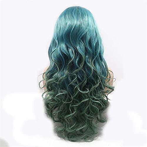 Hermosas pelucas, Iones de color verde gris en el cabello largo de pelo largo peluca de pelo rizado damas hechas a mano de encaje europa y américa, juego de pelucas, peluca, cabello corto para uso dia
