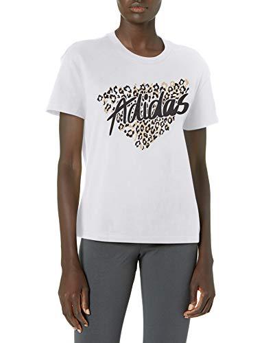 adidas womens Leo Graphic Tee White Medium