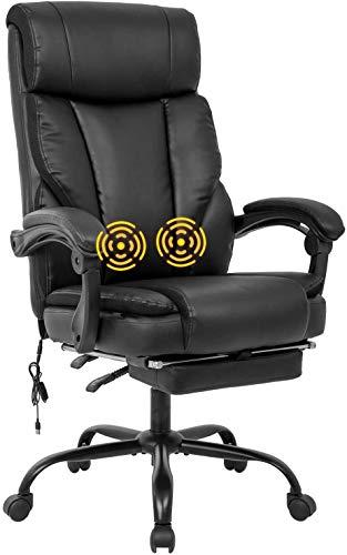 Ergonomic Desk Chair Home Office Chair Armrest Foot Rest, Massage Computer Chair with Lumbar Support, Swivel Chair with Leather Leather Chair (1)
